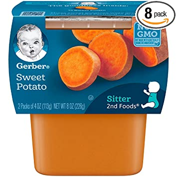 gerber 2nd foods sweet potatoes 4 ounce tubs 2 count pack of 8