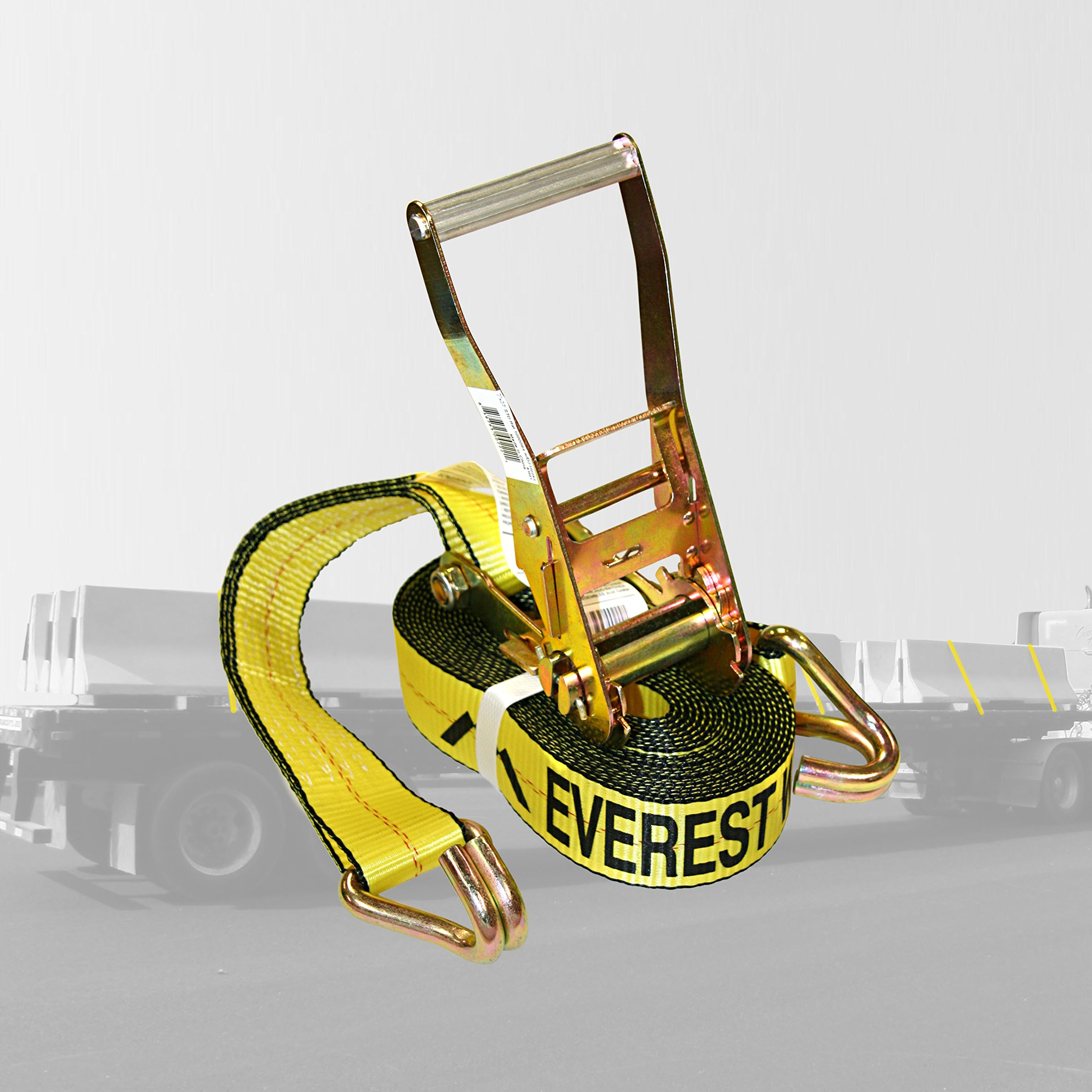Everest Premium Ratchet Tie Down - 1 PK - 2 IN - 27 FT - 3333 LBS Working Load - 10000 LBS Break Strength - Double J Hook - Cargo Straps Perfect for Moving Appliances, Lawn Equipment and Motorcycles by Everest
