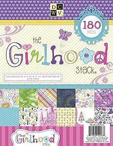 DCWV Cardstock Paper Girlhood Stack 8.5X11 180 Sheets Acid Free, Multicolor