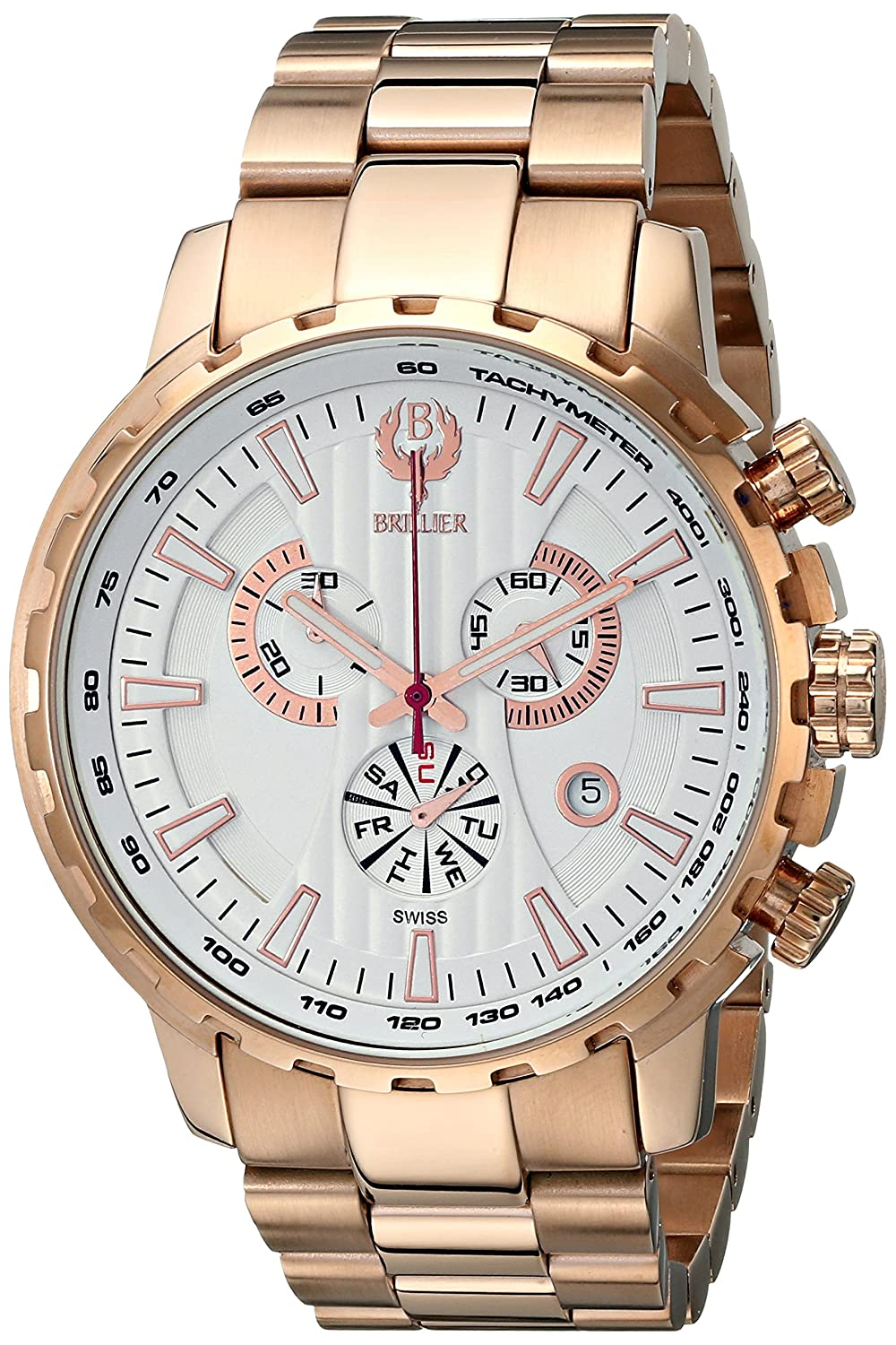 Brillier Herren 16-06 Endurer Rose Gold Chronograph Swiss Quartz Armbanduhr