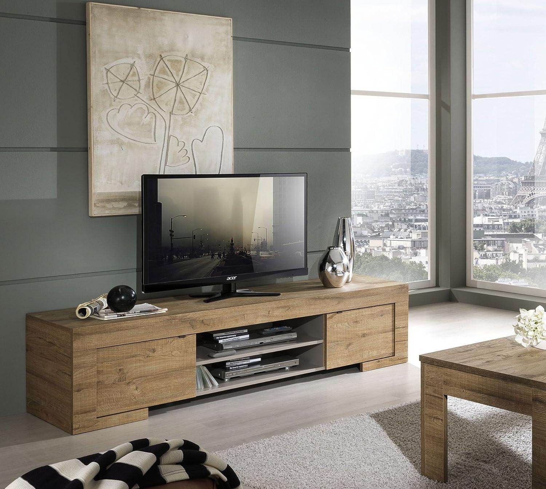 Milano, mobile TV con 2 ante e 1 ripiano in legno, 190 x 45 x 51 ...