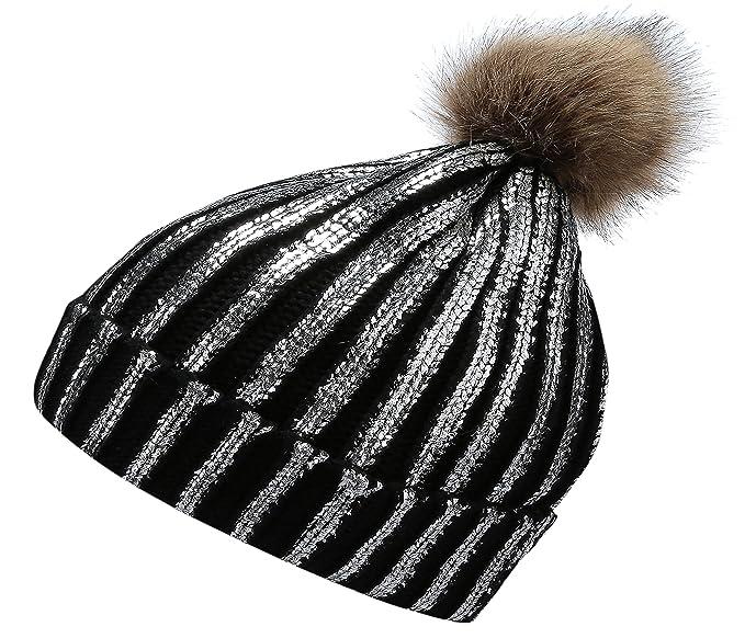 61eaa94a263 Jugofar Winter Chunky Knit Party Metallic Shiny Beanie Skull Pom Pom Hats  Cap Black Silver