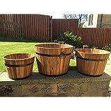 Lot de 3pots de fleurs ronds en bois dur massif type demi tonneau pour jardin