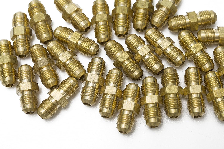 Pack of 5 LTWFITTING Brass 1//4 OD Flare Union,Brass Flare Tube Fitting