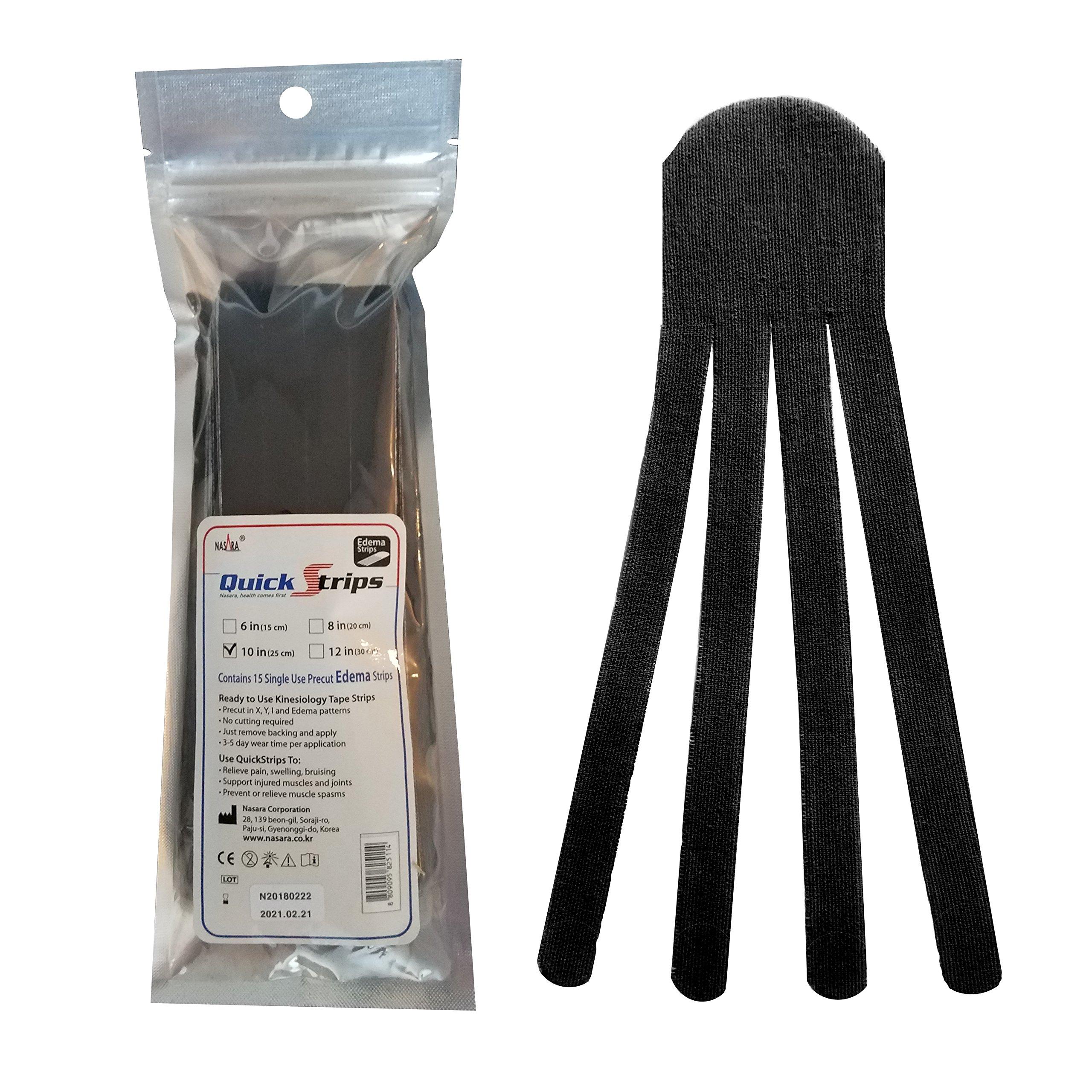 Nasara QuickStrips Precut Kinesiology Tape Strips - 10'' Edema Pattern - 15 Pack: Black
