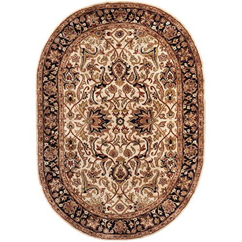 Safavieh Persian Legend Collection PL523D Handmade Traditional Ivory and Black Wool Oval Area Rug 7 6 x 9 6 Oval