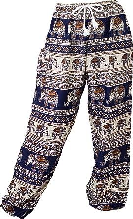 Miss Bangkok Womens Elephant Print Drawstring Waist Harem Pants
