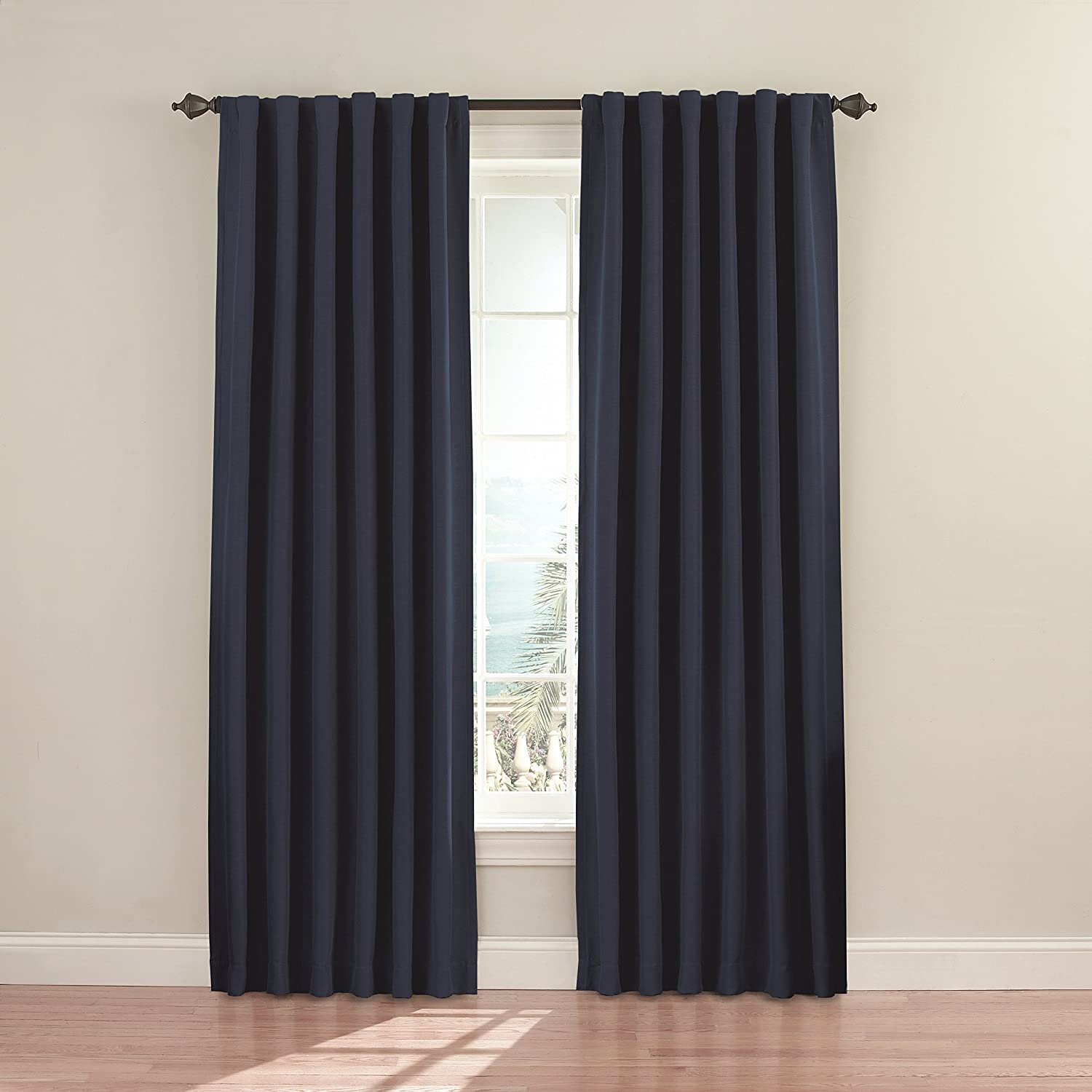 """ECLIPSE Fresno Thermal Insulated Single Panel Rod Pocket Darkening Curtains for Living Room, 52"""" x 84"""", Dark Blue"""
