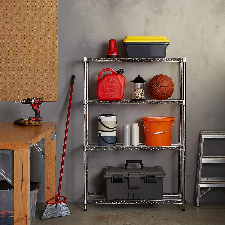 amazoncom 4shelf shelving unit chrome home u0026 kitchen