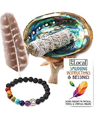 Abalone Shell Bulk BLUE SAGE Charcoal Tablets 4 inch Wood Stand Smudging Feather