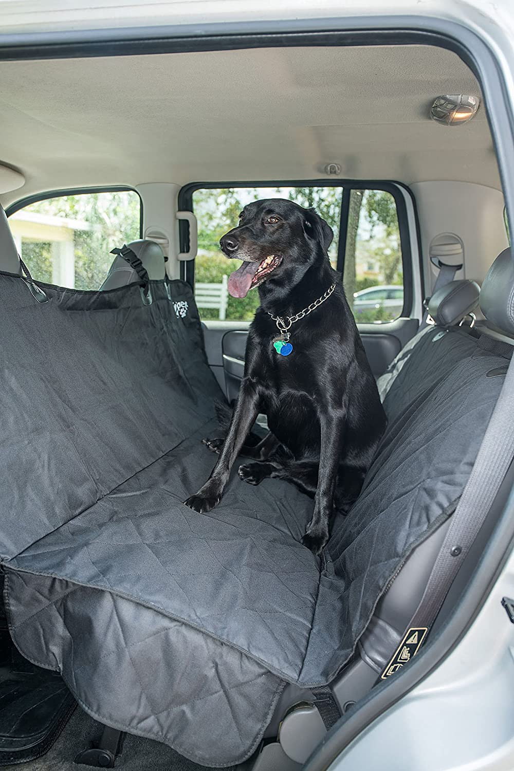 Quilted Ebony Black Back Seat Quilted Ebony Black Back Seat 2PET Backseat Cover Quilted Deluxe by Dog Seat Cover for Cars, Trucks and SUV Secure Fit- Waterproof, Predects from Dust, Hair, Dirt and Water Black