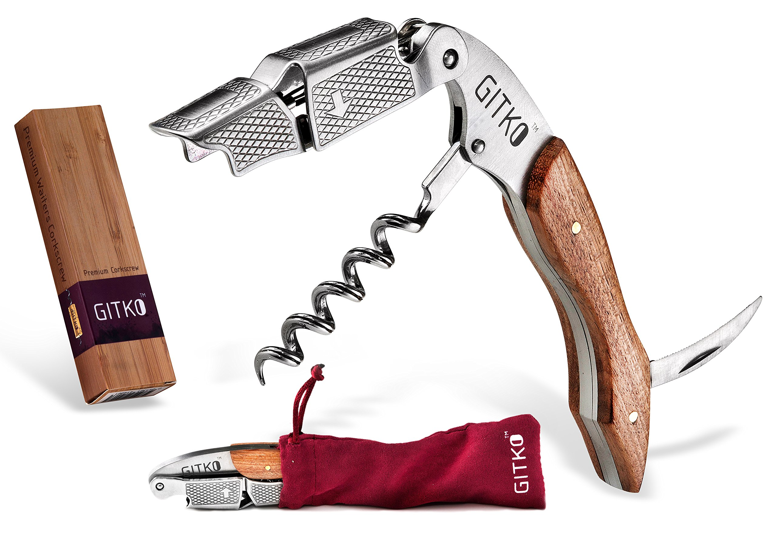 Waiters Corkscrew By Gitko -With a Comfortable Rosewood handle – Wine And Beer Bottle Opener For Bartenders, Waiters, –With A Stainless Steel Wine Key Foil Cutter - With a Nice Pouch Included, 3 Pack by GITKO (Image #1)