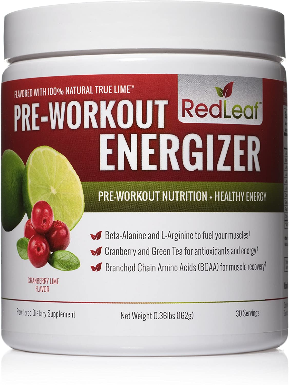 Red Leaf Pre-Workout Energizer Powder, BCAA's, Beta-Alanine, Amino Acids and Green Tea for Immune Support, Natural Cranberry Lime Flavor
