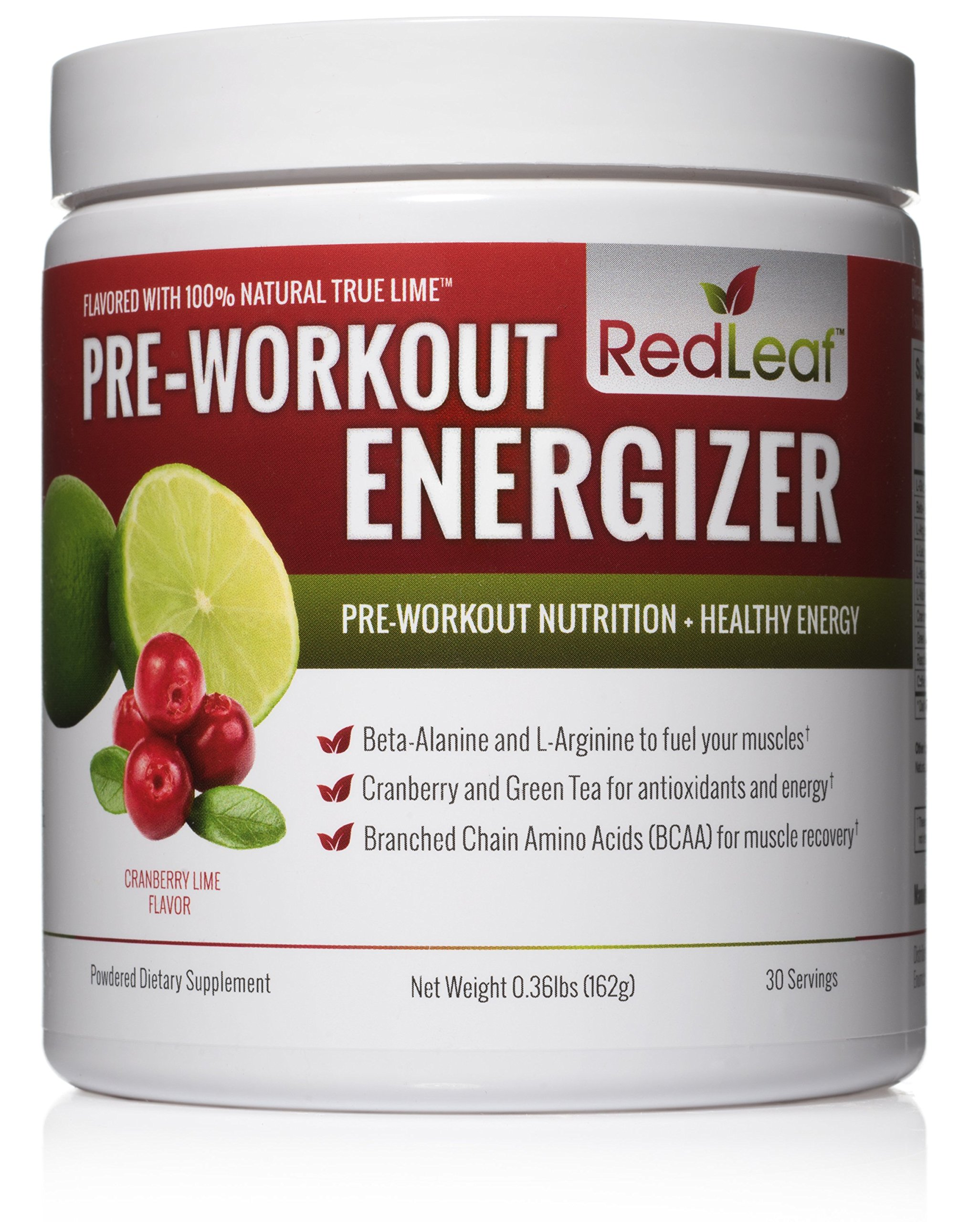 Red Leaf Pre-Workout Energizer Powder, Pre Workout for Women and Men, BCAA's, Beta-Alanine, Amino Acids, Green Tea, Natural Cranberry Lime Flavor - 30 Servings by Redleaf