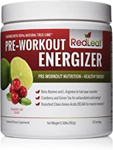 Red Leaf Pre-Workout Energizer Powder, BCAA's, Beta-Alanine, Amino Acids and Green Tea for Immune Support, Natural Cranberry Lime Flavor - 30 Servings