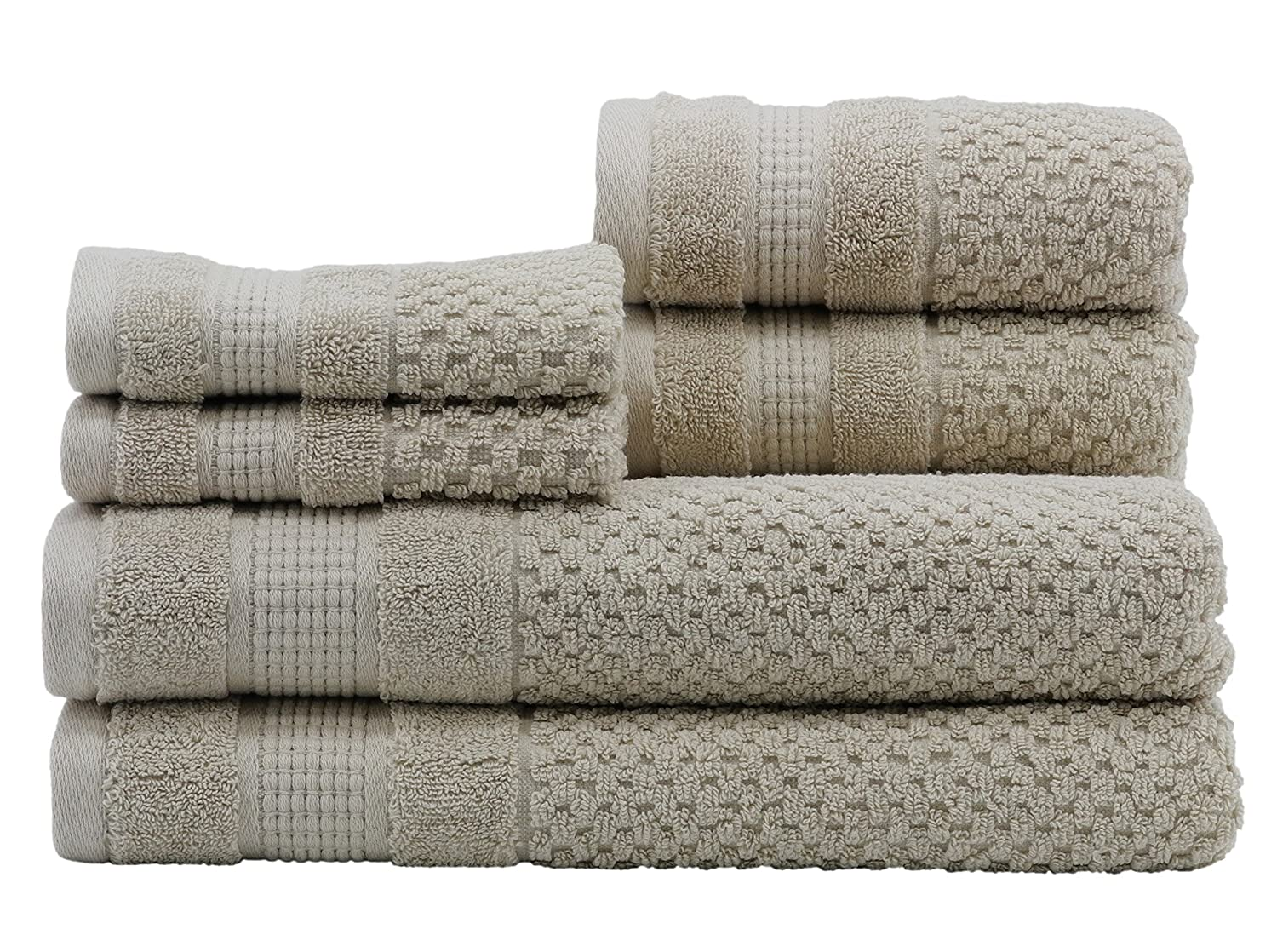 Caro Home Pebble 6 Piece Bath Towel Set, Large, Oat 6S1372T4450