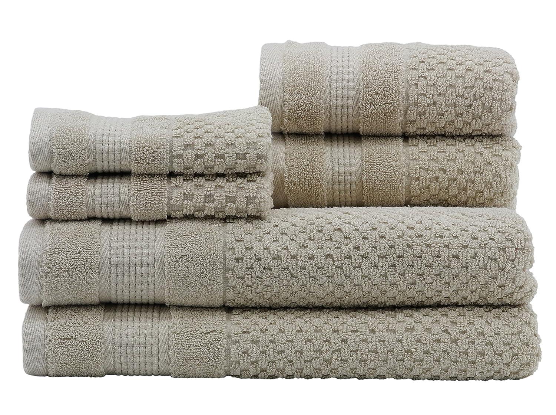 Caro Home Pebble 6 Piece Bath Towel Set, Large, Oat 6S1372T4450