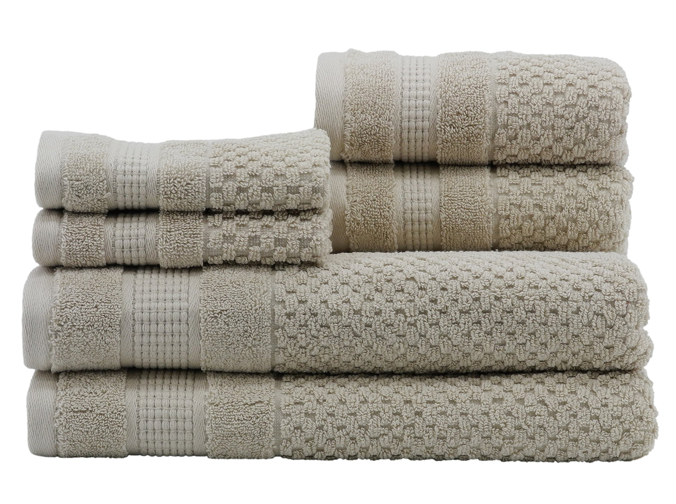 Caro Home Pebble 6 Piece Bath Towel Set, Large, Oat