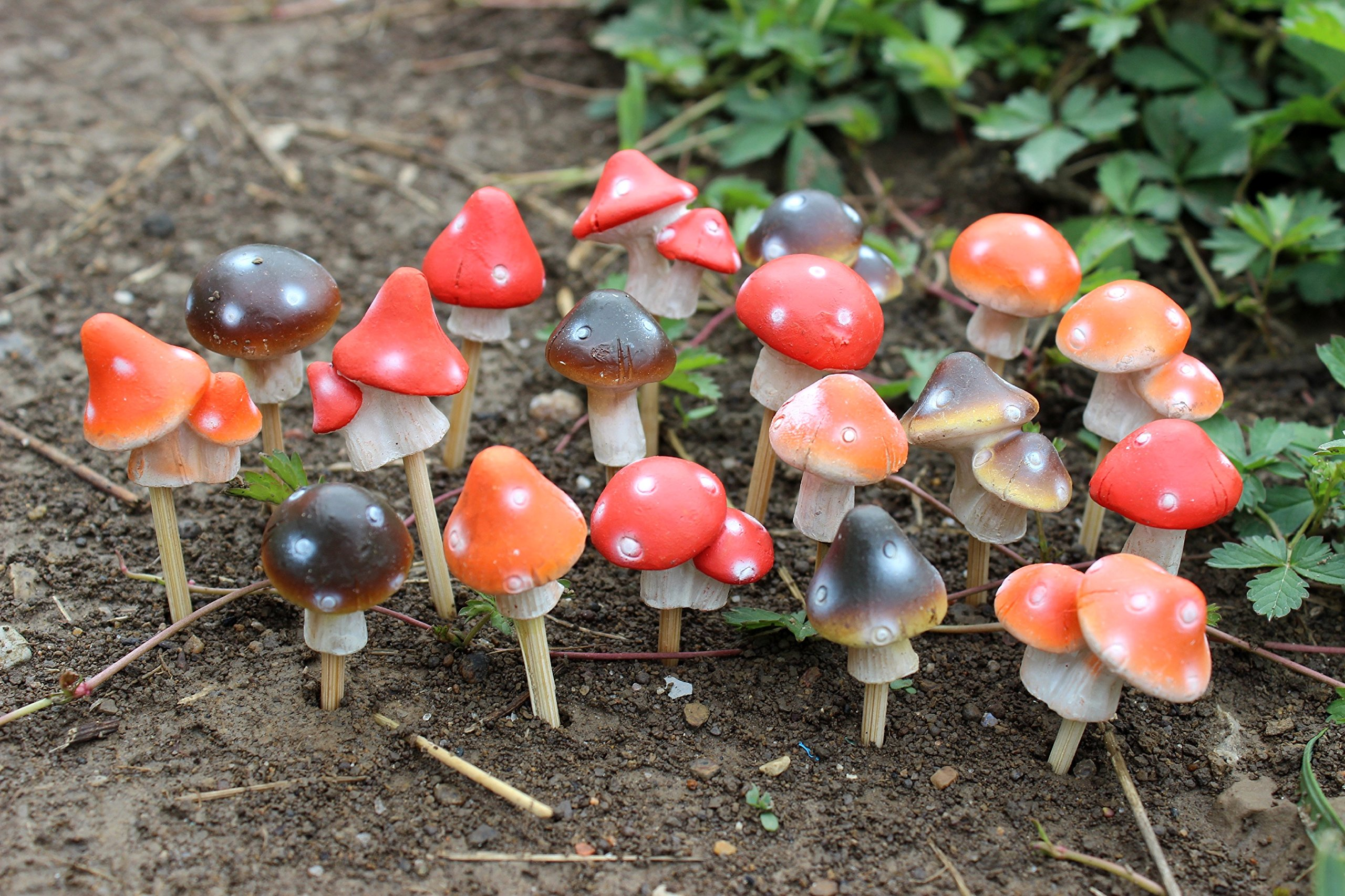 Set of 18 Assorted MayRich 1'' Miniature Fairy Garden Mushrooms with Stakes
