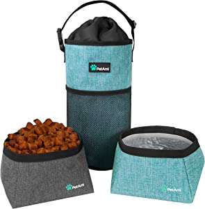 PetAmi Dog Food Travel Bag | Kibble Carrier for Dogs with Collapsible Dog Water Bowls Kit | Pet Food Travel Container Storage for Camping, Hiking Gear Accessories (Sea Blue, Grey)
