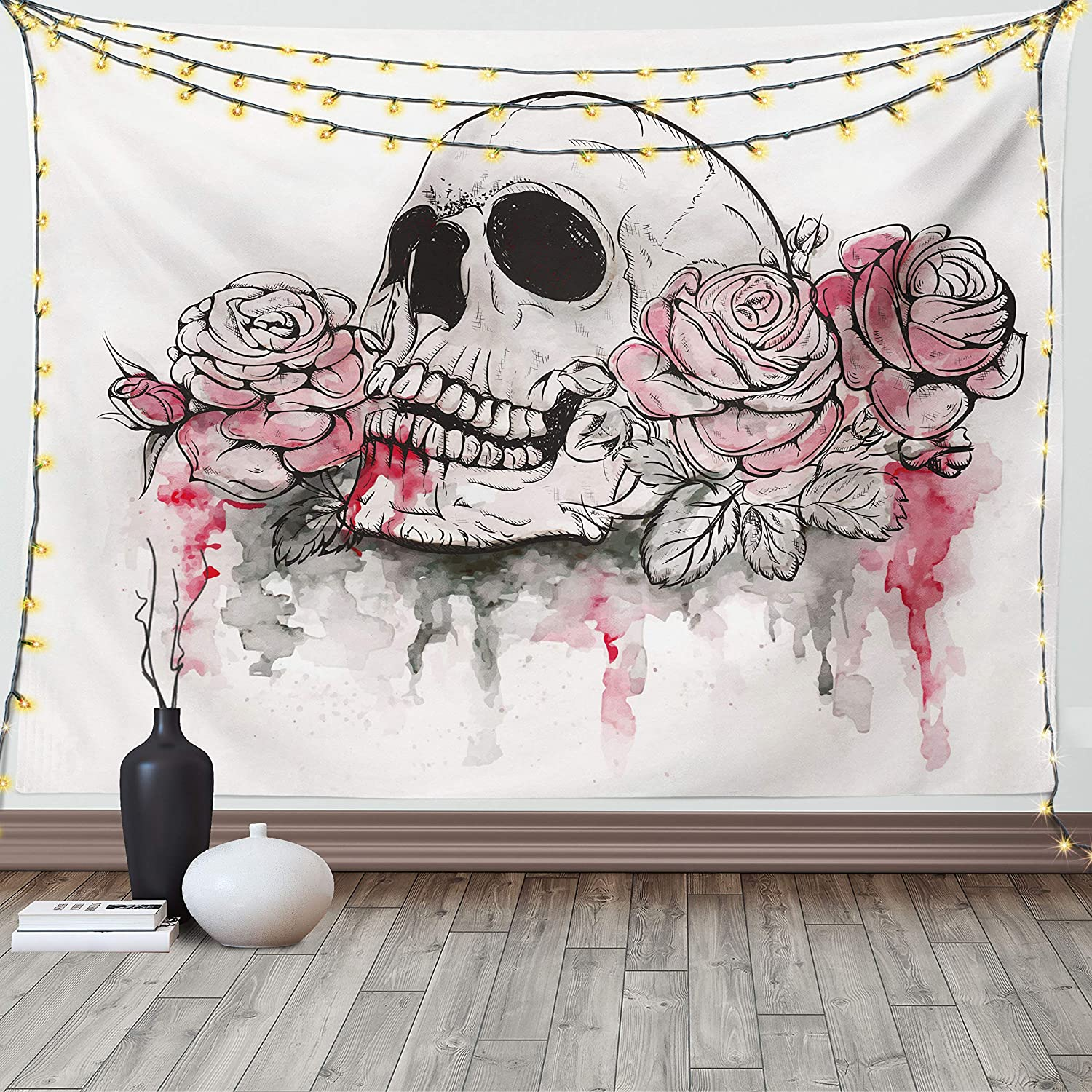 Ambesonne Day of The Dead Tapestry, Print of Skull Dead with Romantic Roses Celebration Day, Wide Wall Hanging for Bedroom Living Room Dorm, 60