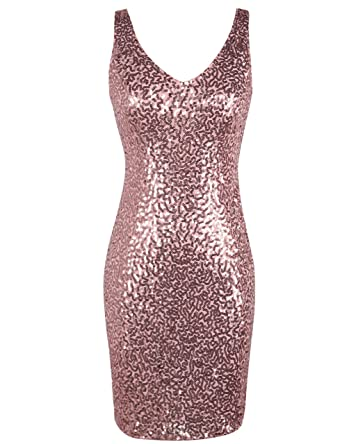 bd7261cf3e32 PrettyGuide Women's Sequin Cocktail Dress V Neck Bodycon Glitter Party Dress  L Pink