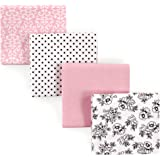 Hudson Baby Receiving Blankets, 4 Pack, Black and Pink Flowers