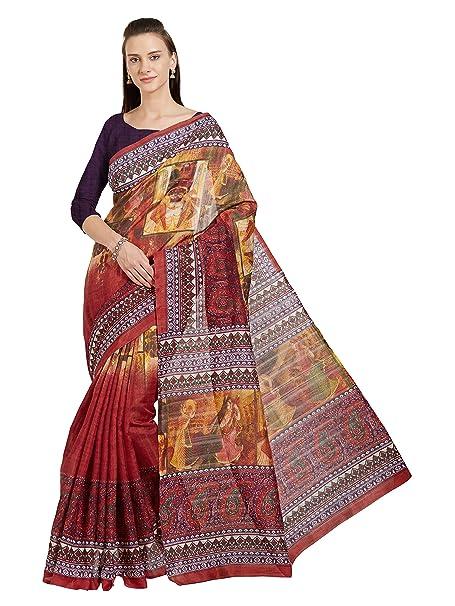 Amazon.com: Mujer Bhagalpuri impresa sari bollywood indio ...