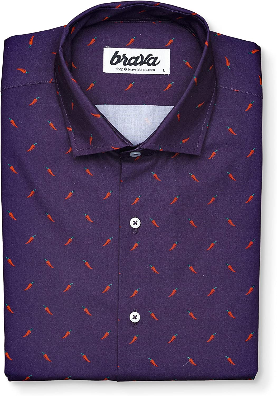 Brava Fabrics - Blusa para Mujer - Camisa Morada Estampada ...
