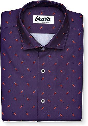 Brava Fabrics - Blusa para Mujer - Camisa Morada Estampada para Mujer - Modelo Hot Chili - Talla XXL: Amazon.es: Ropa y accesorios