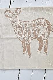 Tea Towel - Organic Cotton - Goat Design in Mocha Brown - Screen Printed - Flour Sack
