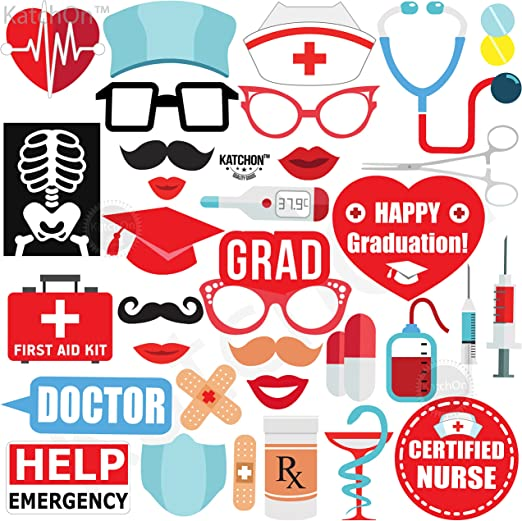 Amazon Com Graduation Nurse Photo Booth Props Pack Of 33 Nurse Graduation Photo Booth For Rn Party Decorations 2020 Doctor Nurse Graduation Party Nursing School Graduation Party Supplies Diy Required Kitchen Dining