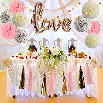 Bridal Shower Decorations Love Balloons Rose Gold Tissue Paper Pom Poms Flowers Tassel Garland Pink