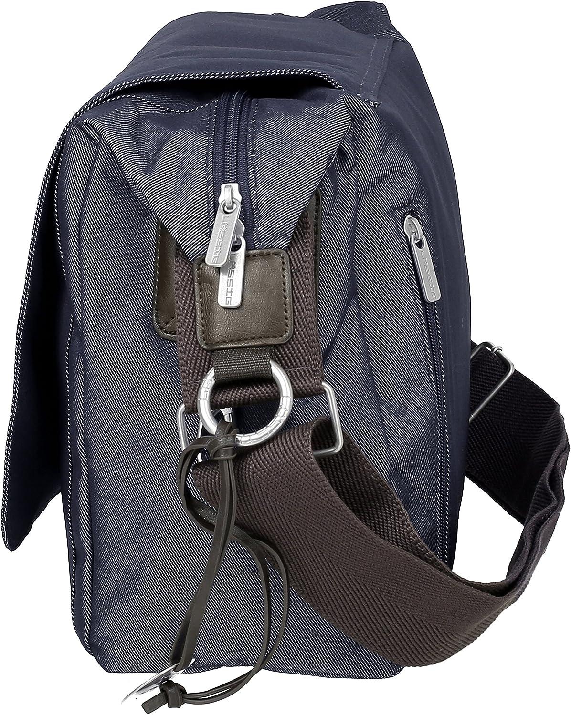 Denim Blue Bottle Holder and Stroller Hooks Lassig Green Label Small Messenger Crossbody Diaper Bag includes Changing Mat
