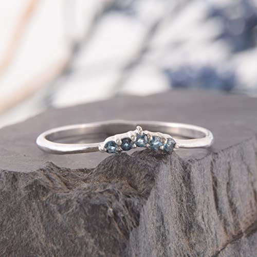 Womens blue topaz curved wedding band V wedding band Simple /& delicate chevron wedding band Sterling silver wedding band for her