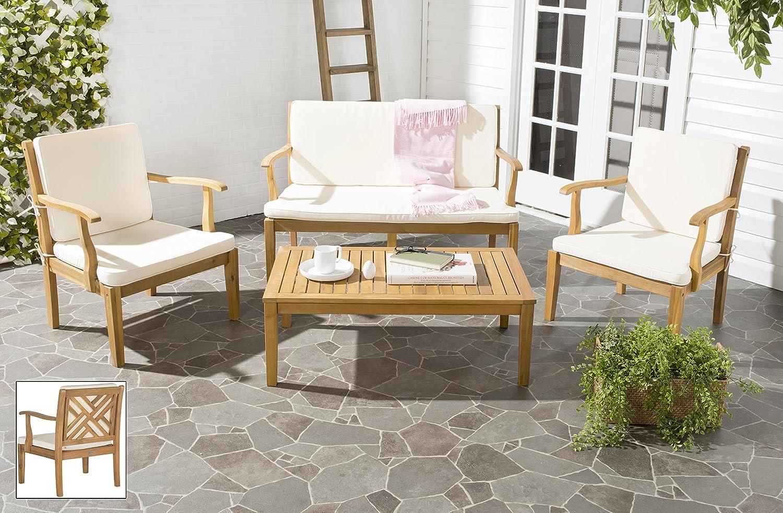 Amazon.com : Safavieh Outdoor Living Collection Bradbury 4 Piece Outdoor  Living Set, Teak Brown : Garden U0026 Outdoor