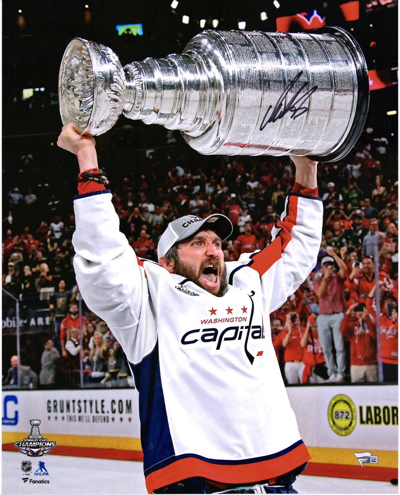 "Alex Ovechkin Washington Capitals 2018 Stanley Cup Champions Autographed 16"" x 20"" Raising Cup Photograph Fanatics Authentic Certified"