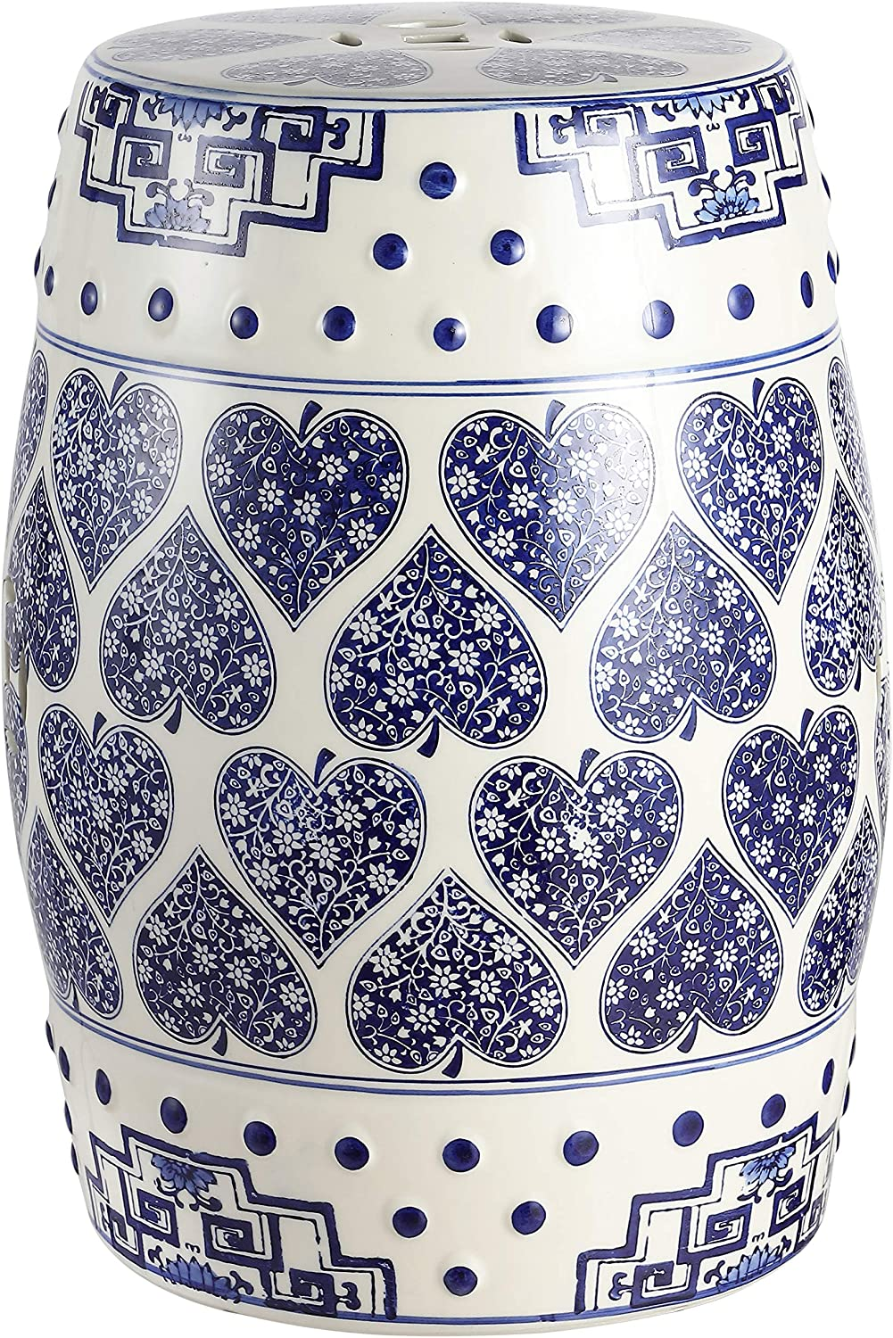 """Jonathan Y TBL1014A Happy Hearts 17.8"""" Chinoiserie Ceramic Drum Garden Stool, Blue/White"""