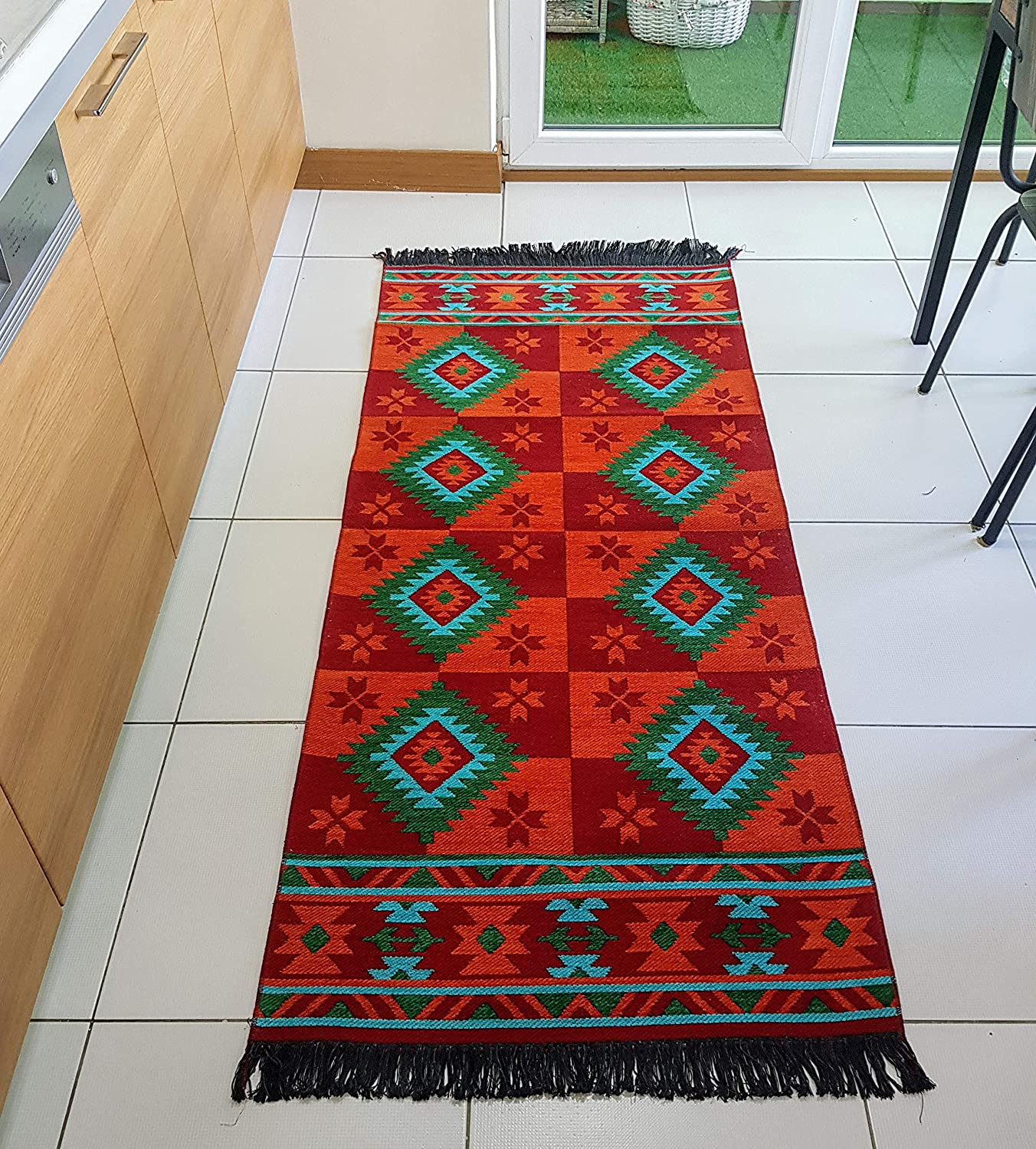 Secret Sea Collection, Mexican Area Rug, Double Sided, Washable (2.5' x 6', Red-Orange-Turquoise)