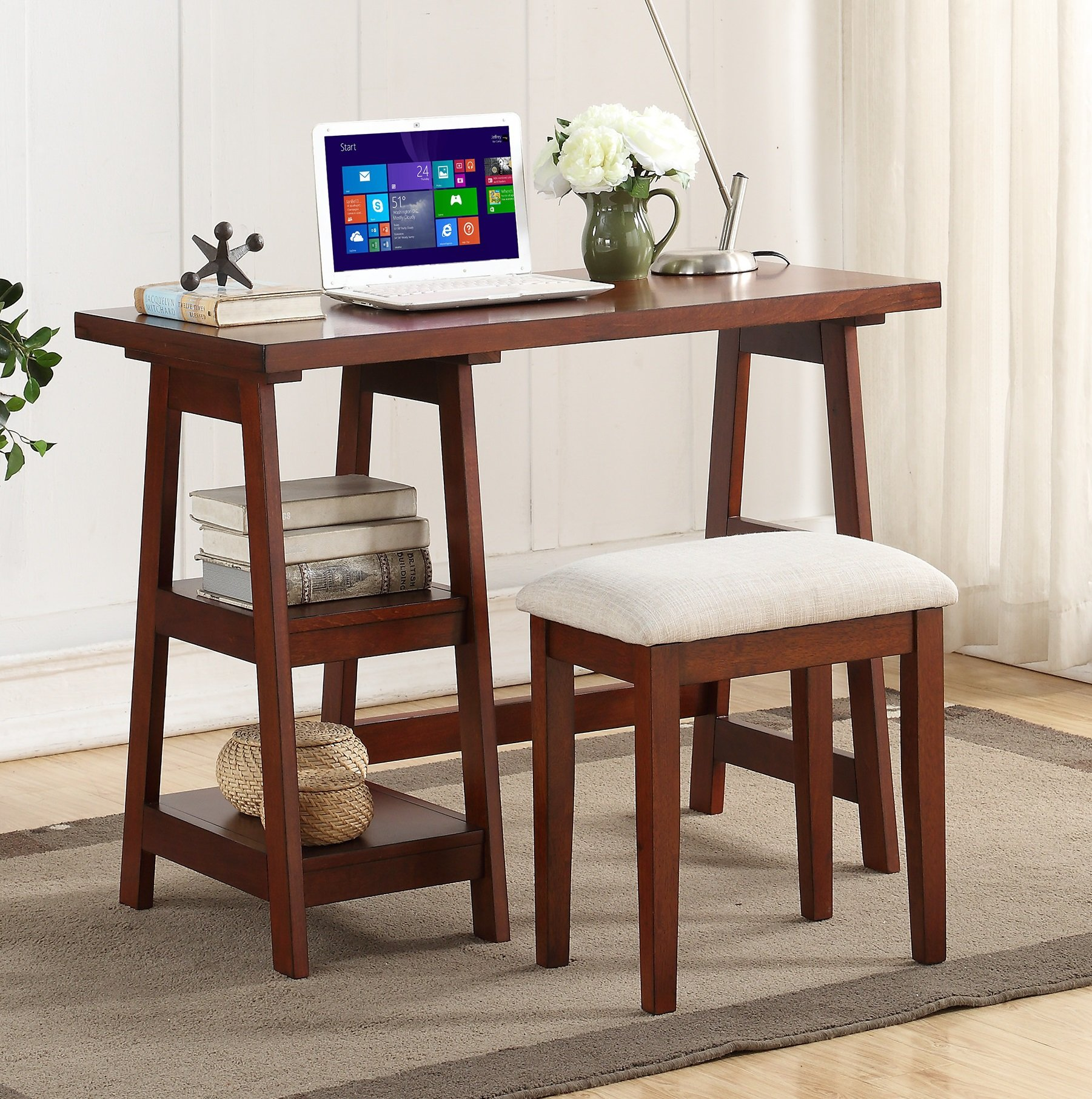 Major-Q Pxf4640 Cherry Finish Wooden Writing Desk with 2 Side Shelves and Stool