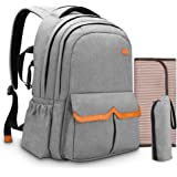 Diaper Bag Backpack for Dad and Mom, Apiker Water Resistant Nappy Bag for Travel with Baby, Stylish and Durable, with Extra Changing Pad, Stroller Straps and Insulated Sleeve (Grey)