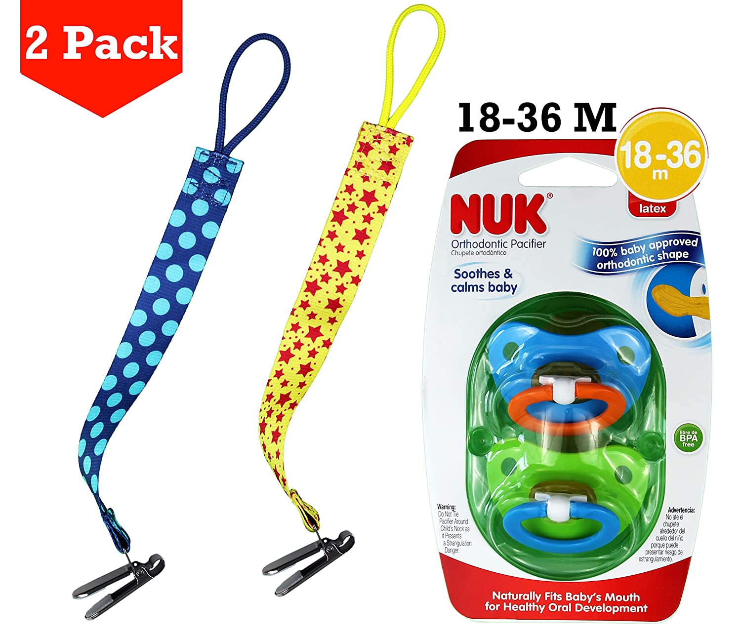 Amazon.com : Nuk Orthodontic Pacifer (18-36 m) + BabyBecca Pacifier ...