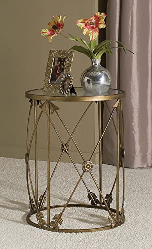 FirsTime Co. InnerSpace Luxury Products Large Barrel Arrows Accent Table, Warm Antique Bronze