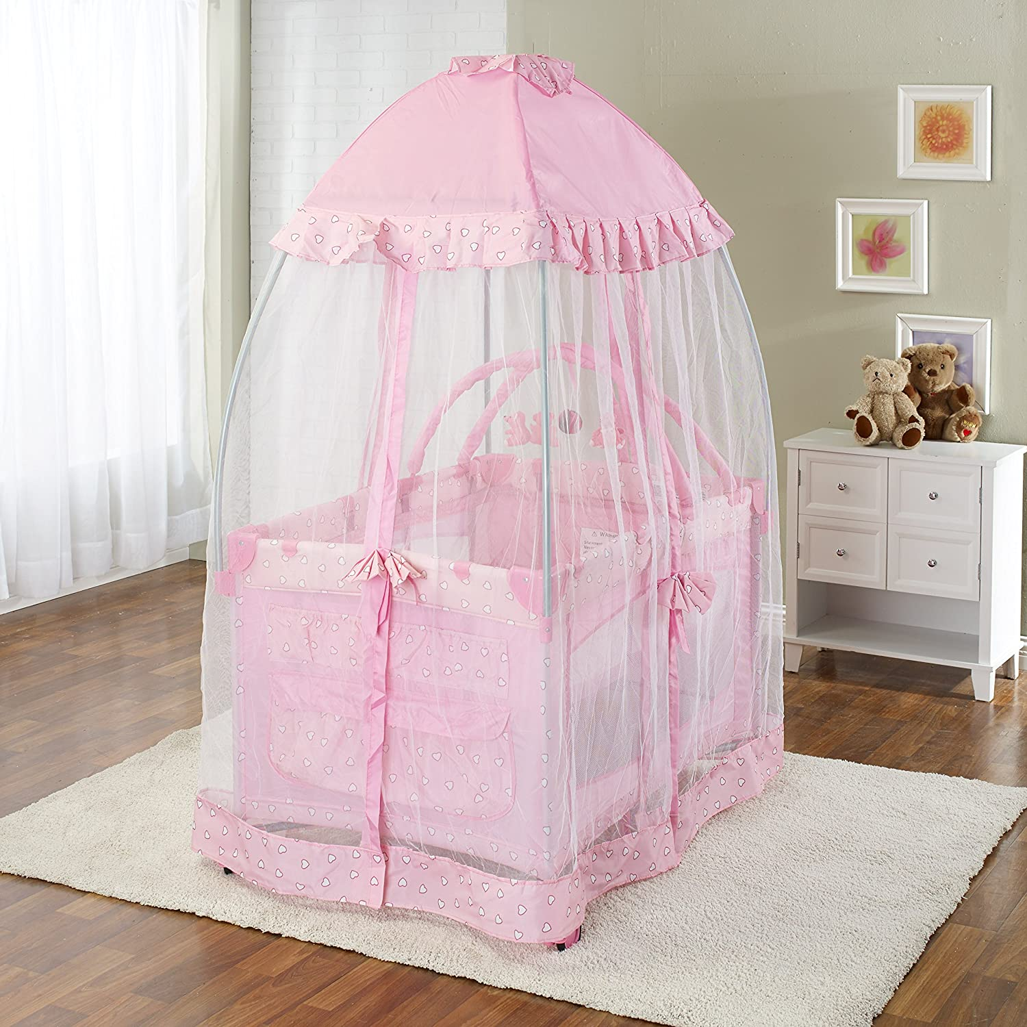 Big Oshi Portable Playard Deluxe Bundle – Nursery Center With Canopy Net Topper – Medium Size – Lightweight, Compact Design, Includes Carry Bag – Perfect for Indoor or Outdoor Backyard Use, Pink