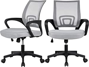 YAHEETECH Office Chair Ergonomic Computer Chair Mid Back Mesh Chair w/Lumbar Support and Armrest, 2-Pack, Gray