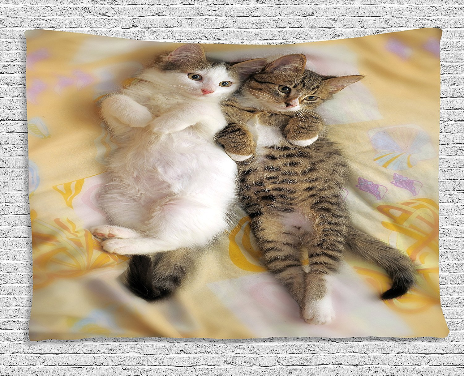 Funny Tapestry, Kitten Siblings Lying Beside Sleepy Heads Cat Pet Animal Lovers Best Friends Image, Wall Hanging for Bedroom Living Room Dorm, 80 W X 60 L Inches, Multicolor