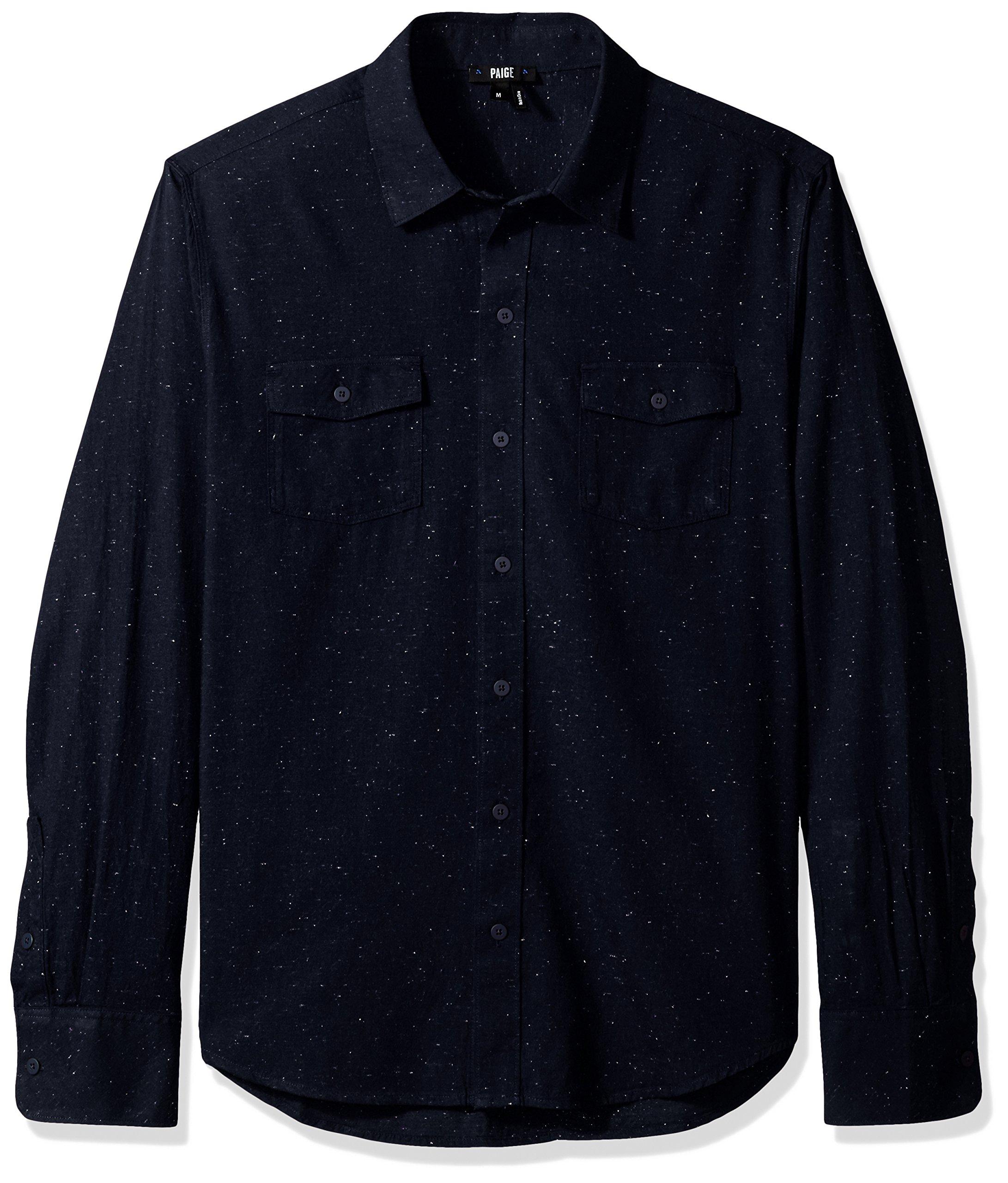 PAIGE Men's Everett Brushed Cotton Button Down Shirt, Blue Spruce Nep, S
