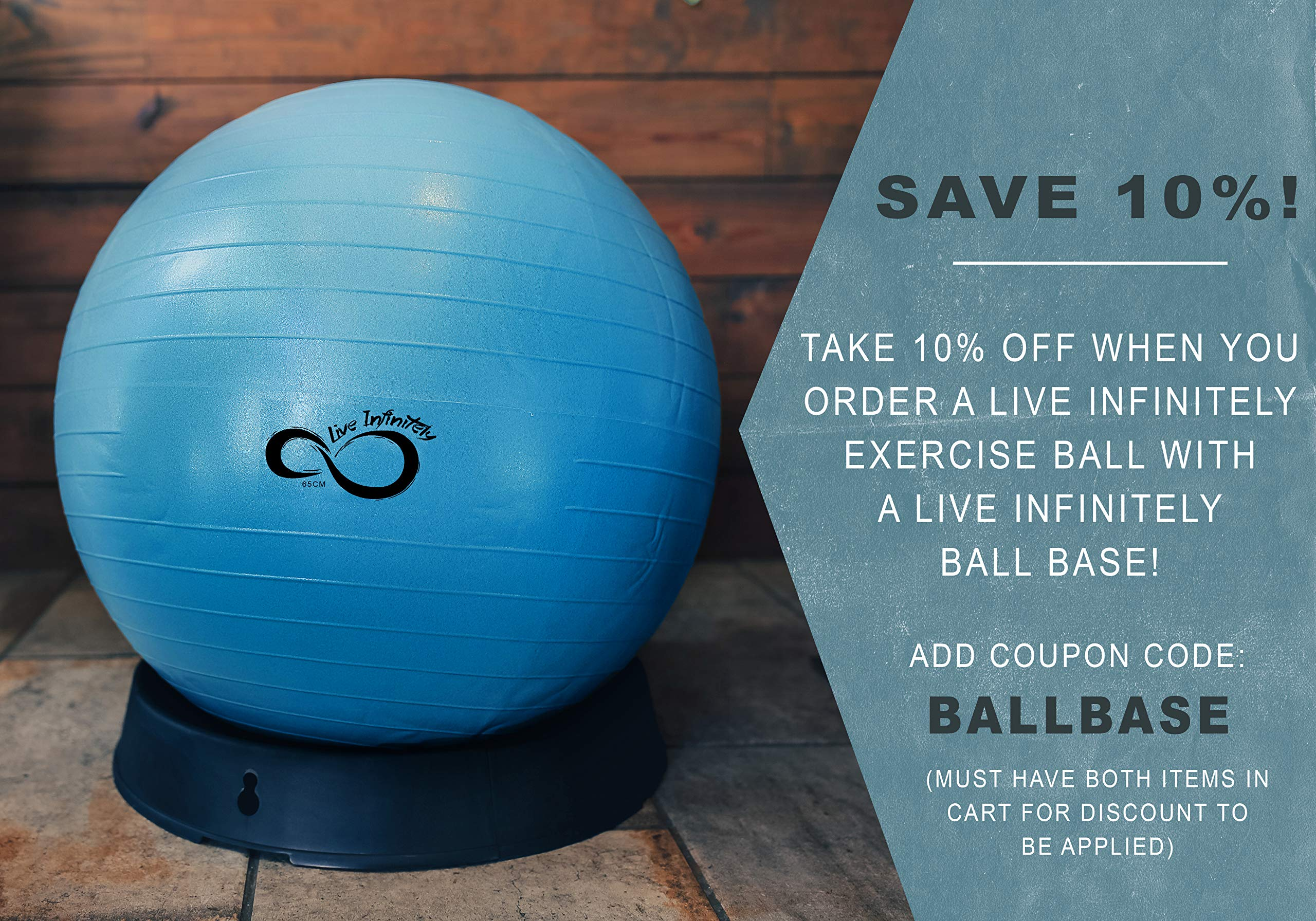 Live Infinitely Exercise Ball (55cm-95cm) Extra Thick Professional Grade Balance & Stability Ball- Anti Burst Tested Supports 2200lbs- Includes Hand Pump & Workout Guide Access Blue 55cm by Live Infinitely (Image #4)