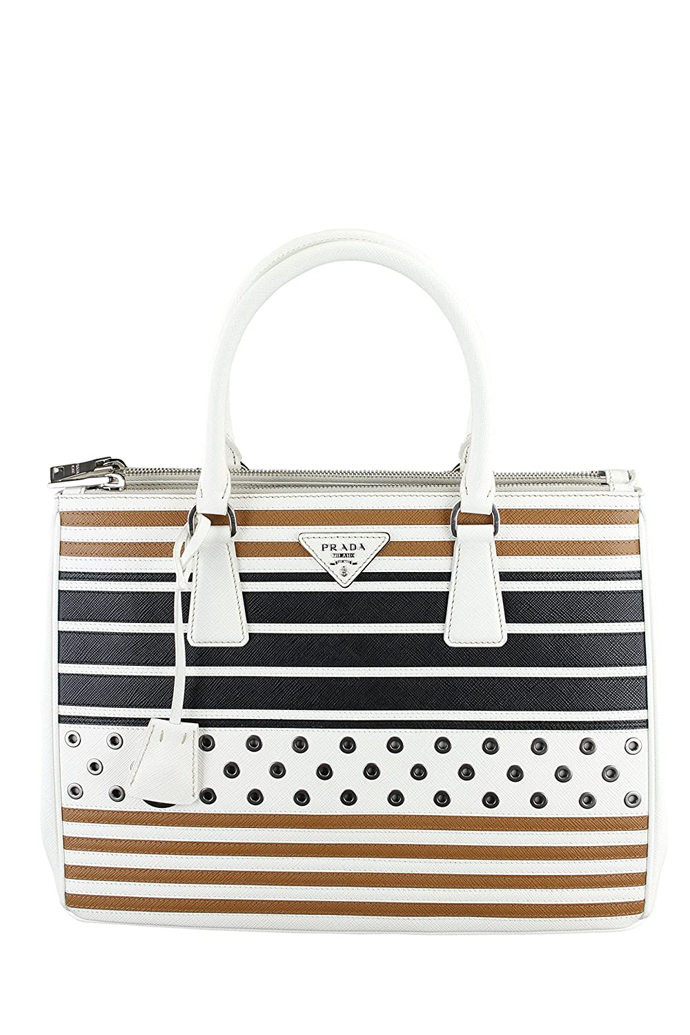 532a7ae2f802c1 ... top quality amazon prada womens double zip saffiano grommets tote white  black clothing 9ad39 1db22