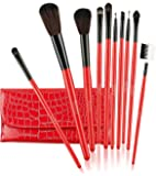 Foolzy BR-13B Professional Makeup Brushes Kit, Red (Set of 10)